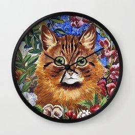 Louis Wain's Cats - Cat In the Garden Wall Clock