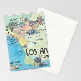 Greater Los Angeles Fine Art Print Retro Vintage Map with Touristic Highlights in colorful retro pri Stationery Cards