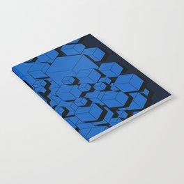 3D Cobalt blue Cubes Notebook