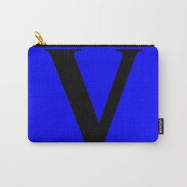 V MONOGRAM (BLACK & BLUE) Carry-All Pouch