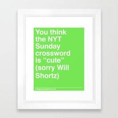 Sorry Will Shortz Framed Art Print