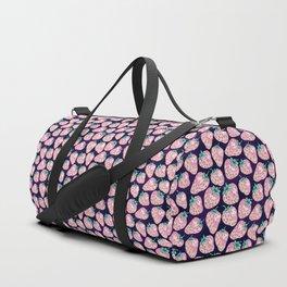 Pink Strawberry pattern on purple background Duffle Bag