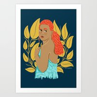Getting Dressed with Yellow Floral Art Print