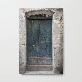 Green Door with Heart Metal Print