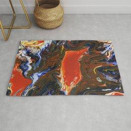 Marbled Orange - Fluid, blue and orange, original, acrylic abstract Rug