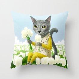 A cat sitting in the flower garden Throw Pillow