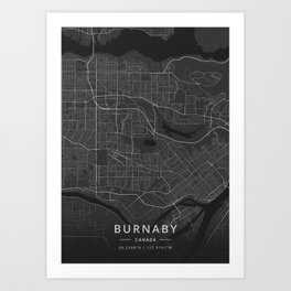 Burnaby, Canada - Dark Map Art Print