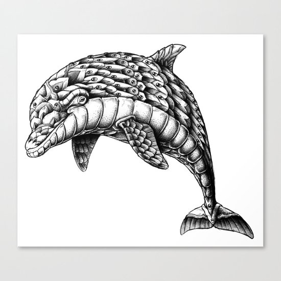 Ornate Dolphin Canvas Print