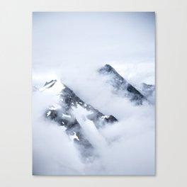 Minimalist MIsty Foggy Mountain Twin Peak Snow Capped Cold Winter Landscape Canvas Print