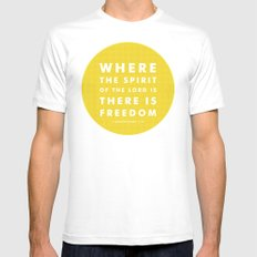 There Is Freedom White Mens Fitted Tee MEDIUM