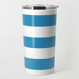 Christmas blue - solid color - white stripes pattern Travel Mug
