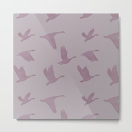 Flying Birds Pattern | Violet Mood Metal Print