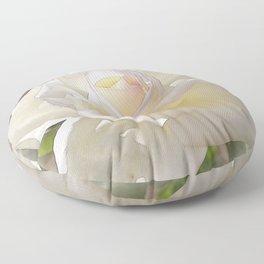 White Rose Bloom In Watercolor Floor Pillow
