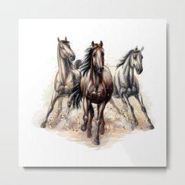 Three horses run Metal Print