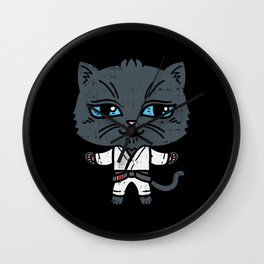 Kawaii Cat in BJJ Uniform Wall Clock