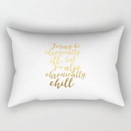 Chronically Chill - Gold + White  Rectangular Pillow