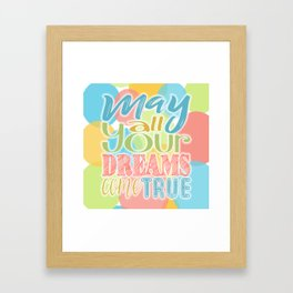 Festive Typography Print on Colorful Transparent Circles Background with Dream Quote Framed Art Print