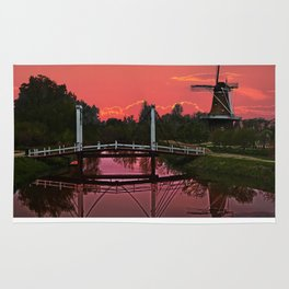 The deZwaan Dutch Windmill at Sunset Rug