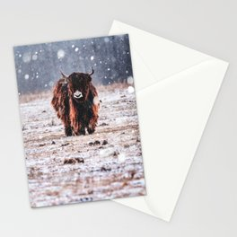 Bison in the snow Stationery Cards