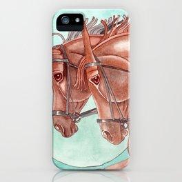 Horses On Fuchsite Moon iPhone Case