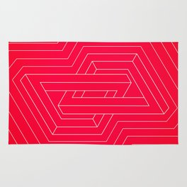 Modern minimal Line Art / Geometric Optical Illusion - Red Version  Rug