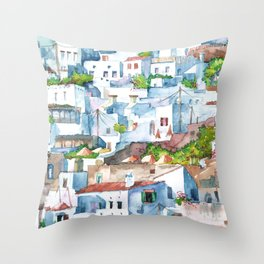 Panorama of Lindos Throw Pillow