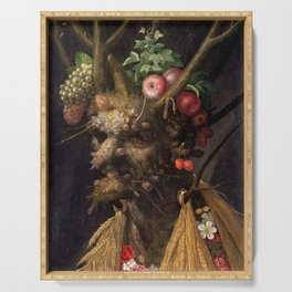 Four Seasons In One Head - Giuseppe Arcimboldo Serving Tray