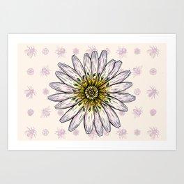 Dandelion and Bees Art Print