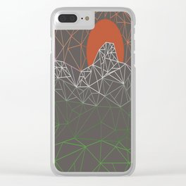 sun line lighs nets green orange Geometric Mountains Clear iPhone Case