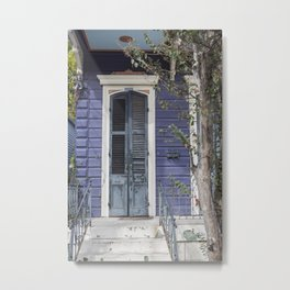 New Orleans Blue Marigny Door Metal Print