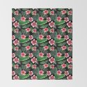 Palm and hibiscus Tropical Watercolor pattern by magentarose