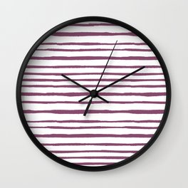 Magenta pink watercolor hand painted stripes Wall Clock