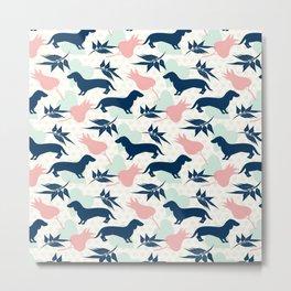 Love Dachshund Dog Floral Polk Dot Pattern Metal Print