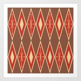 Mid Century Modern Large Diamonds Brick Red Beige Art Print