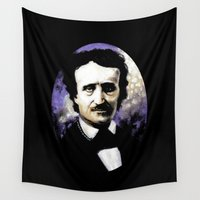edgar allan poe Wall Tapestries featuring Edgar Allan Poe by Rouble Rust