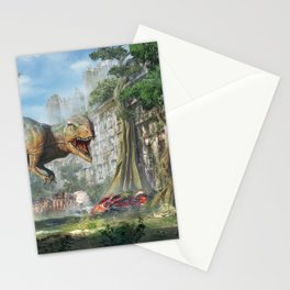 Magnificent Jurassic T Rex Dinosaur Post Apocalyptic Dystopia Survival Ultra HD Stationery Cards