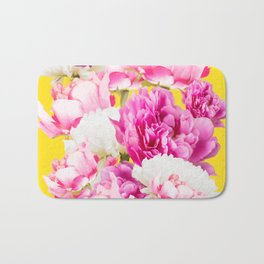 Beauties of nature - large pink flowers on a yellow background Bath Mat