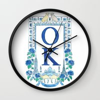 kim sy ok Wall Clocks featuring OK by RachelRogers
