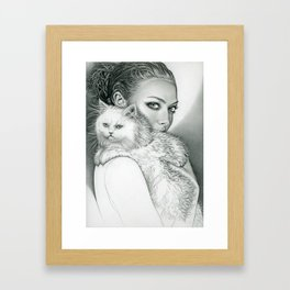 Actress with disappointed cat Framed Art Print