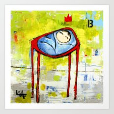 Baby in High Chair Art Print