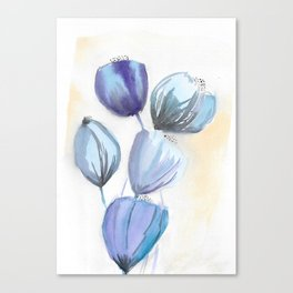 Blue bell flowers watercolor painting romantic something blue Canvas Print