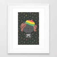 reggae Framed Art Prints featuring Cute Reggae by Anna Alekseeva kostolom3000