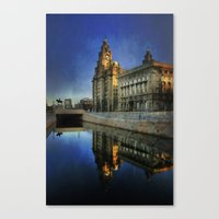 liverpool Canvas Prints featuring Liverpool Sunrise by tarrby/Brian Tarr