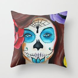 Dia De Los Muertos, Sugar skull girl Throw Pillow