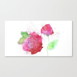 Roses watercolor and papercut Canvas Print