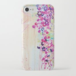 DANCE OF THE SAKURA - Lovely Floral Abstract Japanese Cherry Blossoms Painting, Feminine Peach Blue  iPhone Case