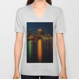 Providence Summer Nights City Skyline Landscape by Jeanpaul Ferro and Mike Dooley Unisex V-Neck