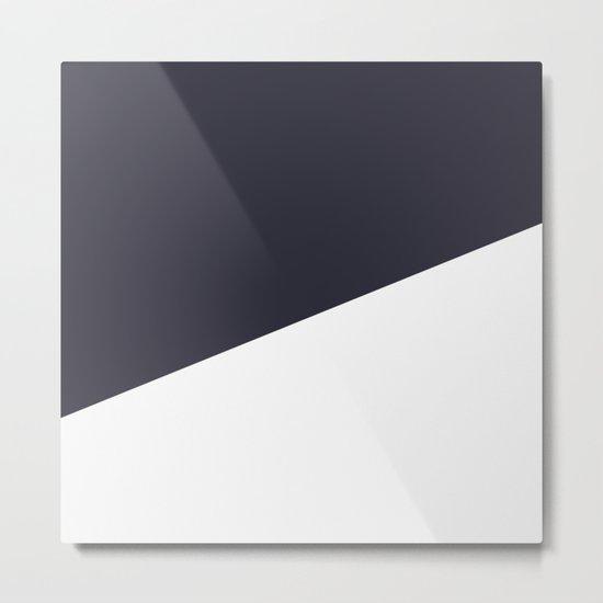 Urban Geometry Navy Blue + White Metal Print