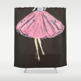 Jolie Pink Fashion Illustration Shower Curtain