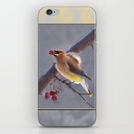 Cedar Waxwing With Berry iPhone Skin